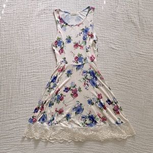 Floral fit and flare dress with lace detail